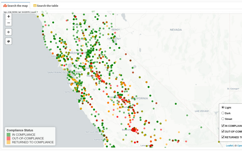 Water Quality Portal for California map